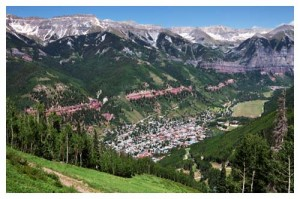 Aerial view of Telluride in Colorado